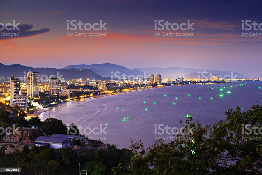Hua -Hin beach, is famous in Thailand stock photo