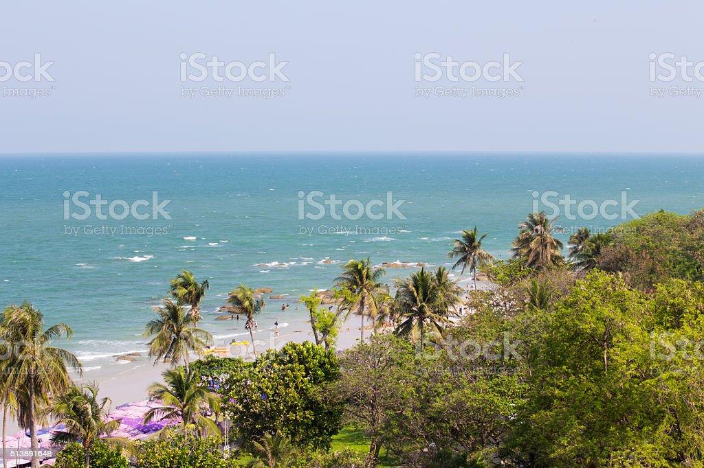 Hua Hin beach with blue sea and jungle stock photo