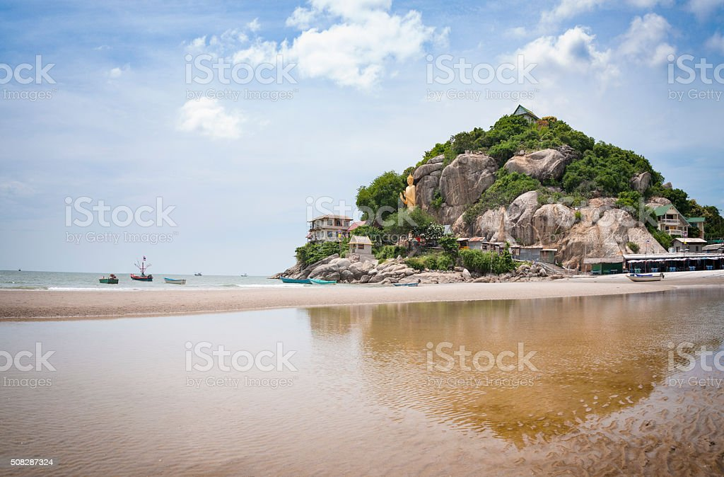Hua Hin Beach With Buddha Statue In Background In Thailand stock photo