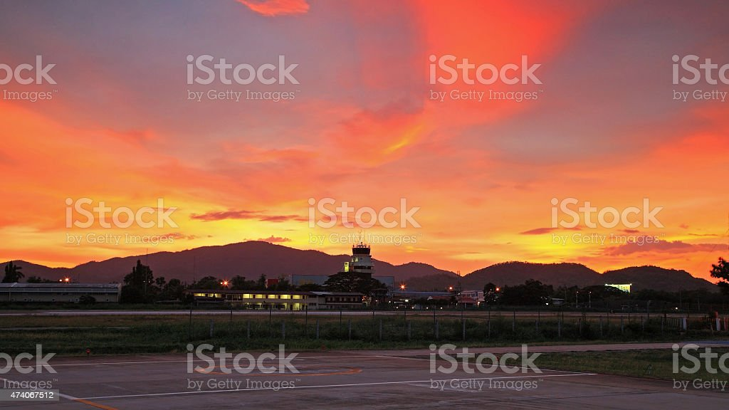 Hua Hin runway, terminal, Control tower stock photo