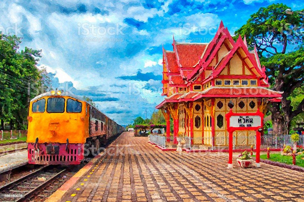 Hua Hin Train Station Digital Painting stock photo