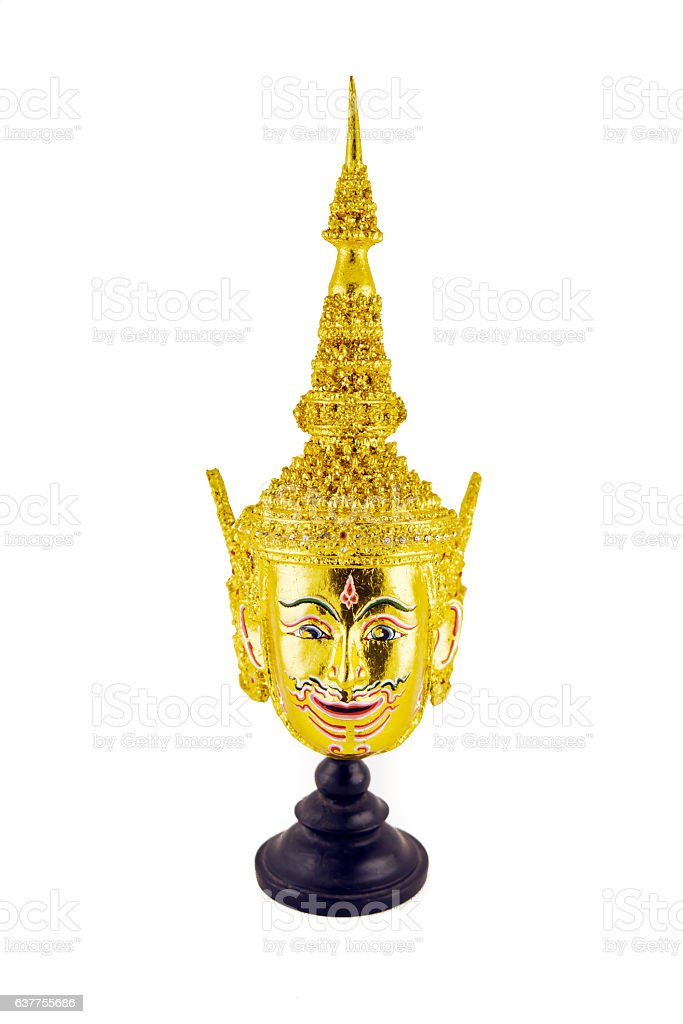 Hua Khon (Ancient Thai Show Head Mask) isolated on white stock photo