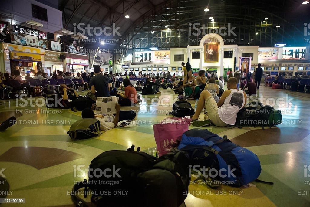Hua Lamphong Backpackers Waiting for Train royalty-free stock photo