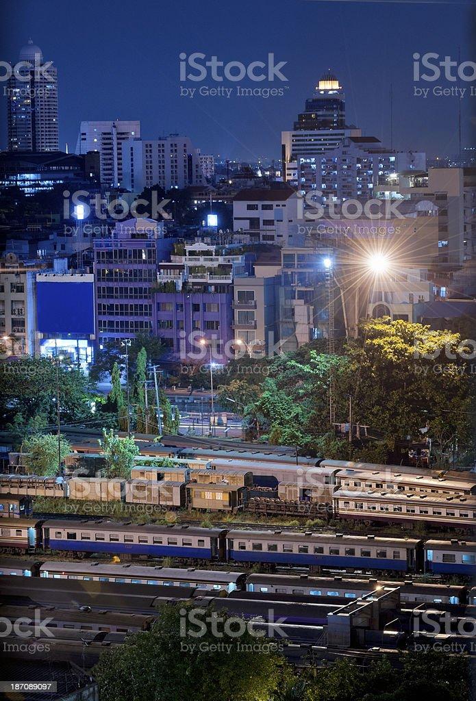 Hua Lamphong Railroad station at night Bangkok Thailand royalty-free stock photo