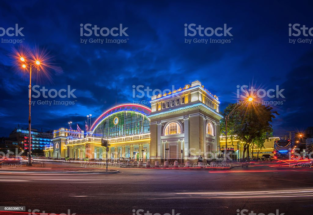 Hua Lamphong Station in Thailand. stock photo