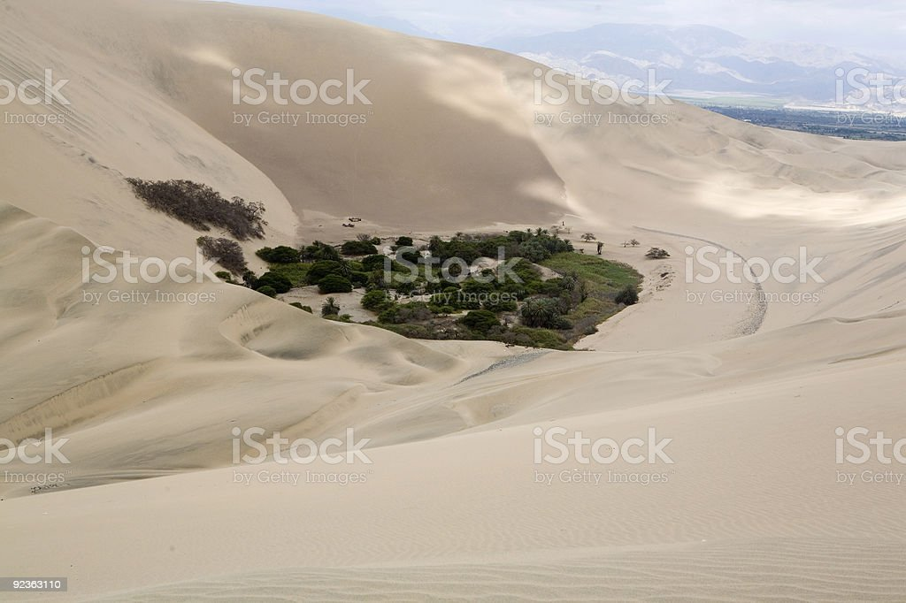 Huacancina oasis in a Peruvian desert stock photo