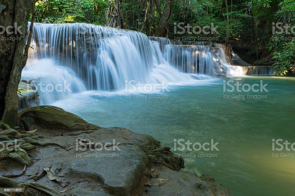 Huai Mae Khamin Waterfall at kanchanaburi stock photo