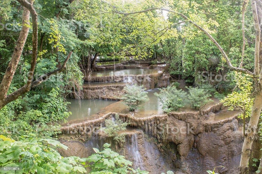 Huai Mae Khamin waterfall in thailand stock photo