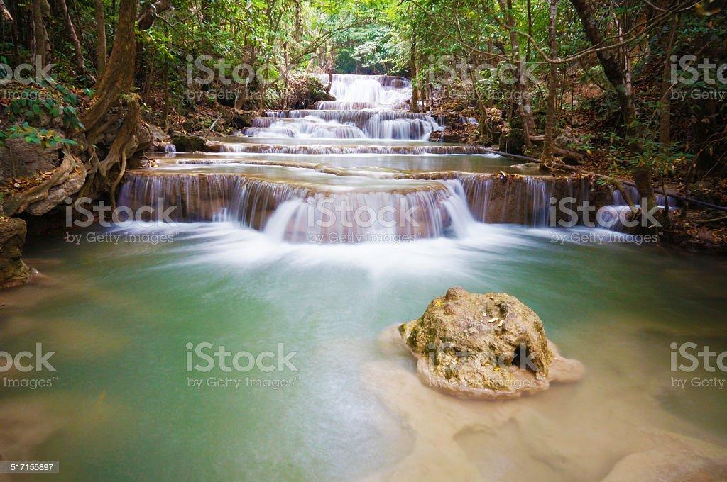 Huai Mae Khamin Waterfall. The most popular places in Kanchanabu stock photo
