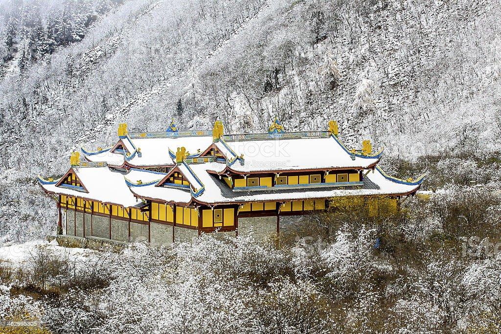 Huang long temple, at Sichuan, China stock photo