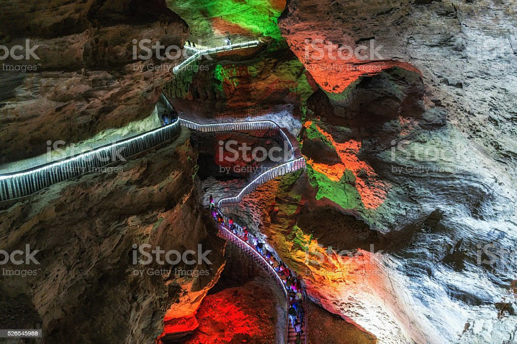 huanglong cave formations and walkway stock photo