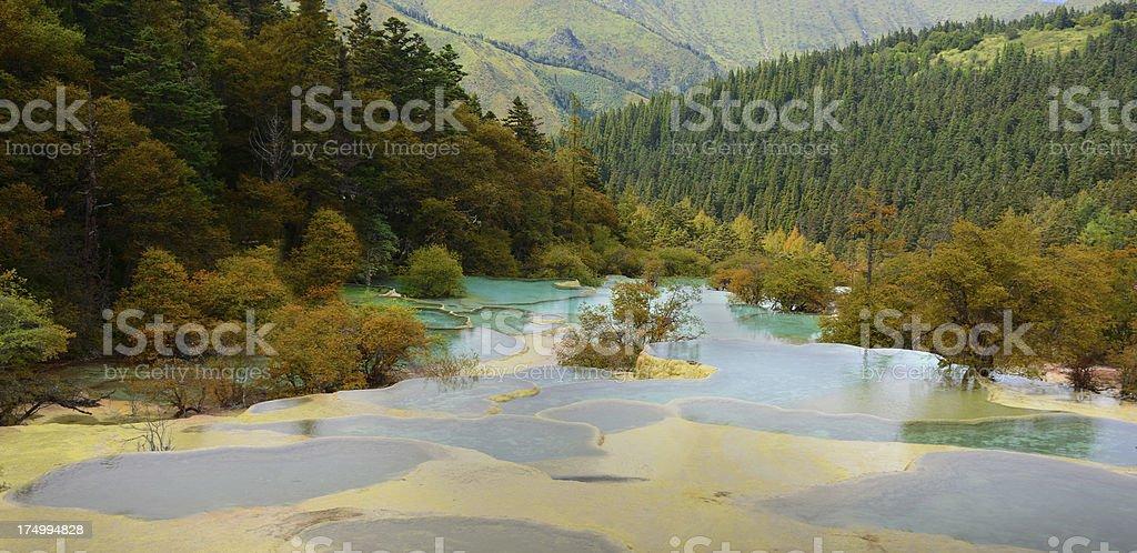 Huanglong National Park near Jiuzhaijou Sichuan, China royalty-free stock photo