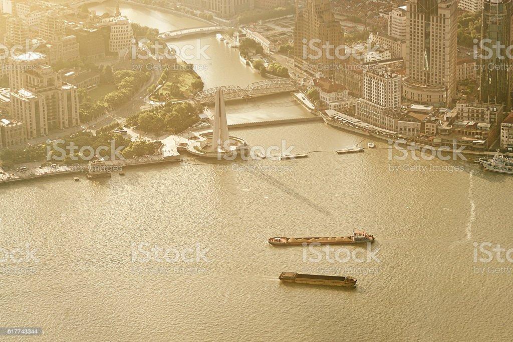 Huangpu River and Suzhou Creek interchanges, Shanghai stock photo
