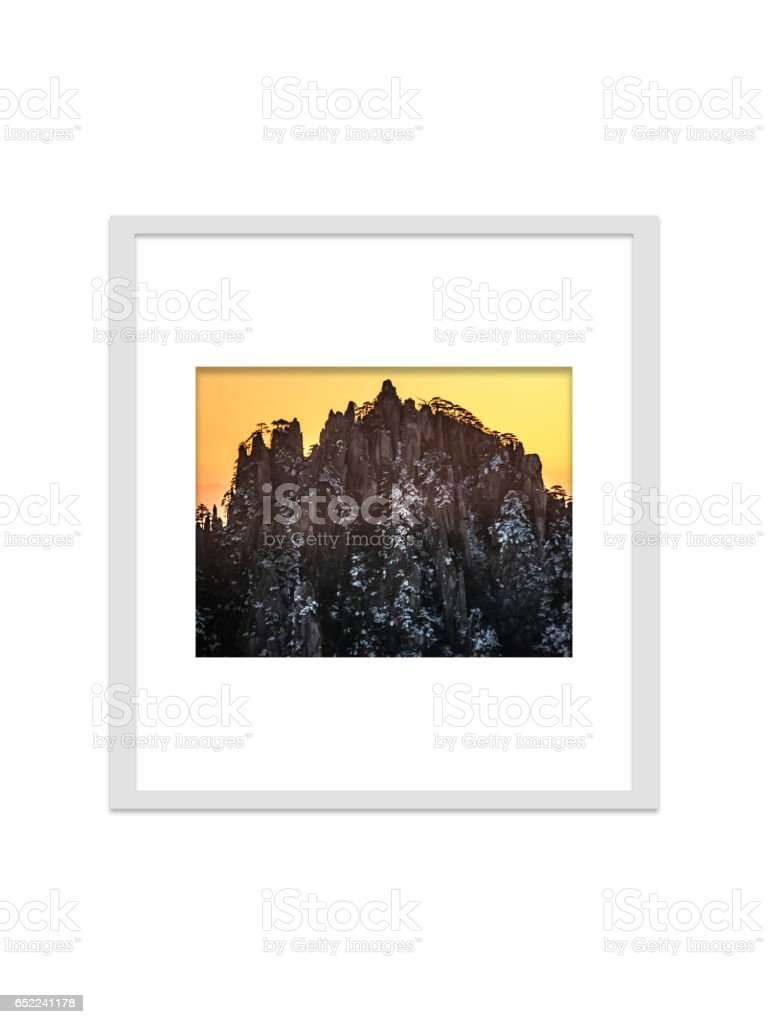 Huangsan photo frame isolated for decorate, interior and souvenir. stock photo