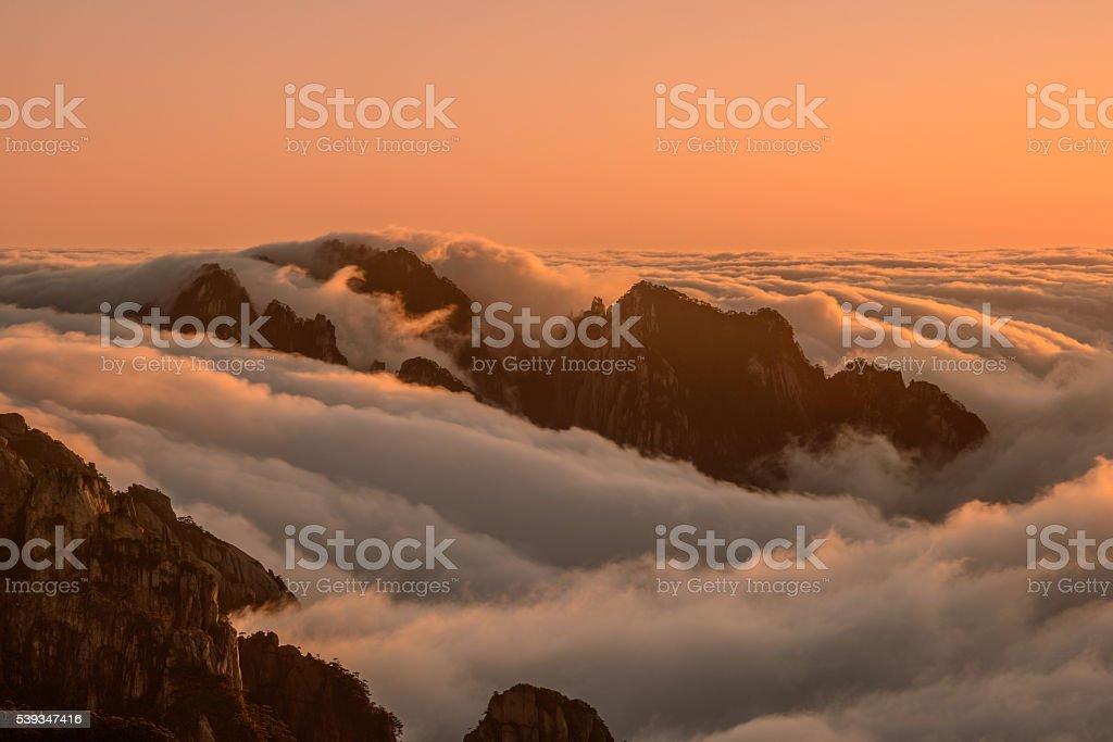 Huangshan peak waves stock photo