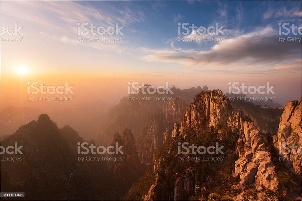 Huangshan sunset stock photo