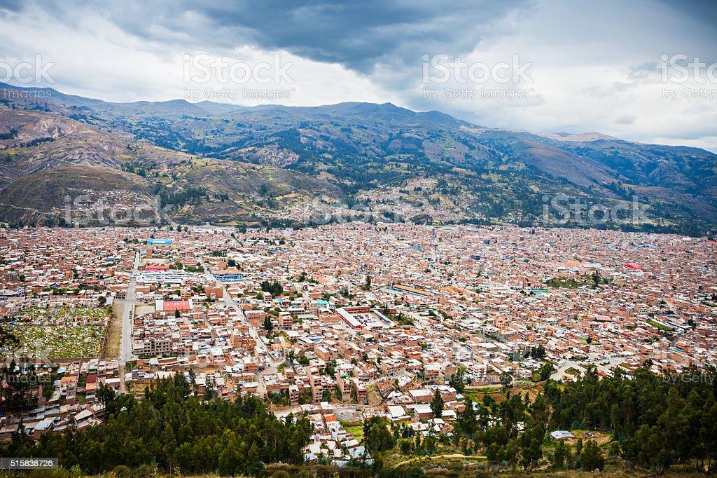 Huaraz aerial view stock photo