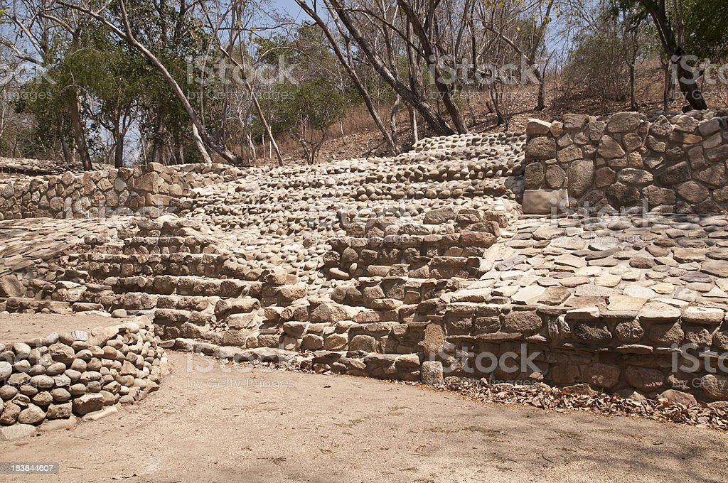 Huatulco Archeological Site, Stone Walls and Stairs stock photo