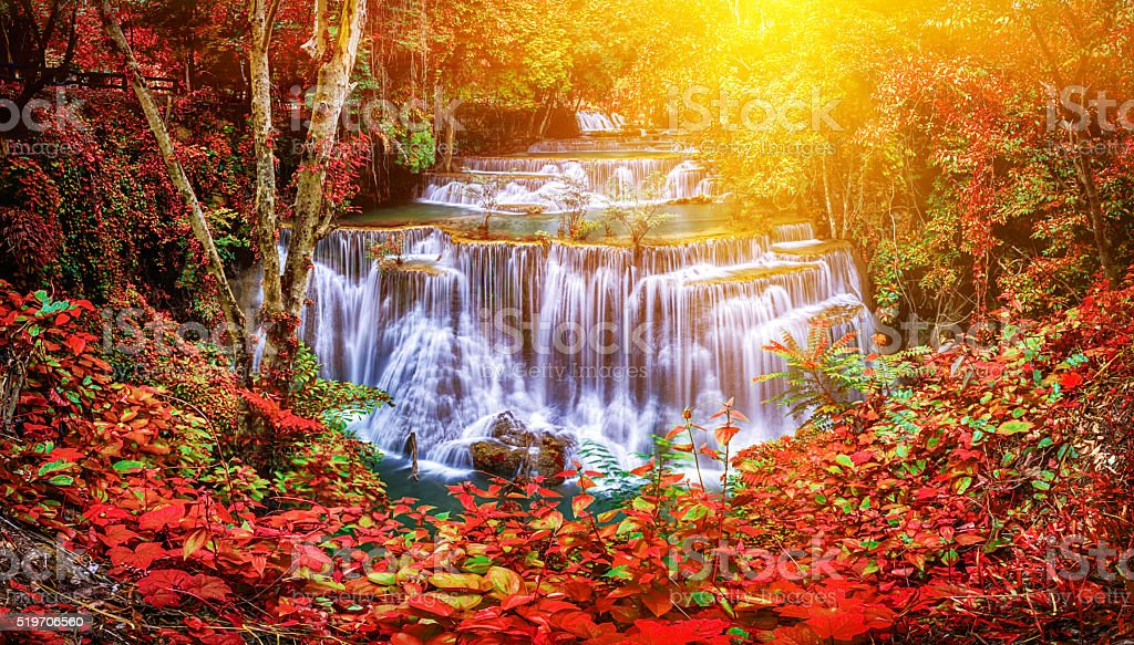 Huay Mae Kamin waterfall in Thailand waterfall is beautiful, do stock photo