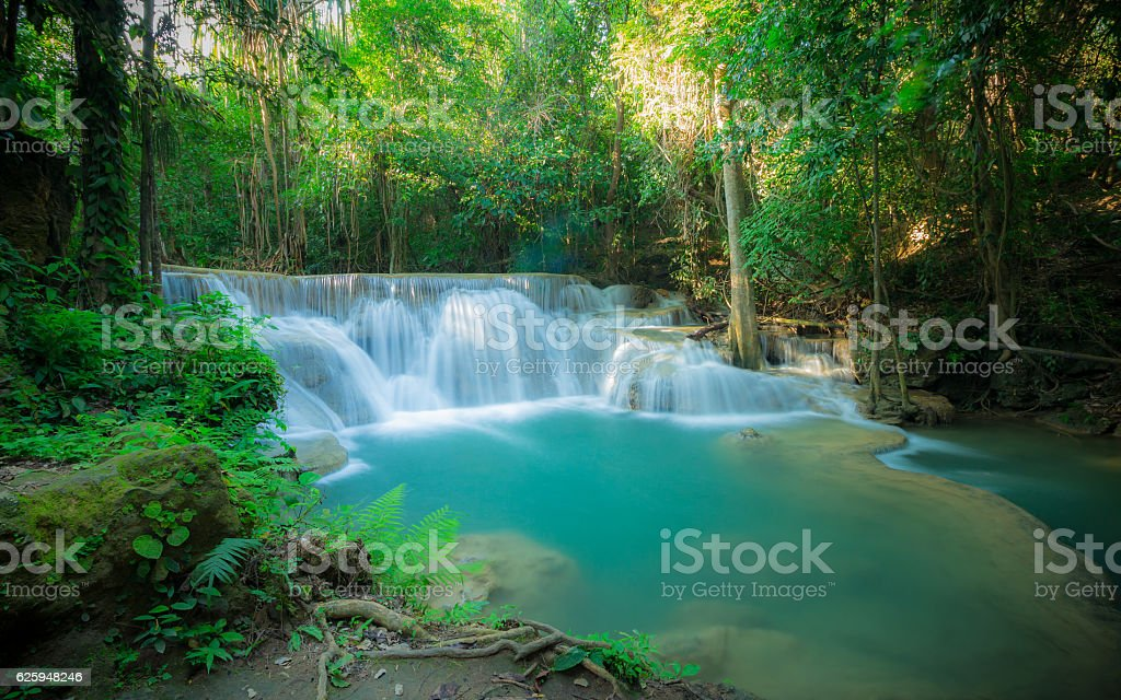 Huay Mae Kamin waterfall National Park stock photo