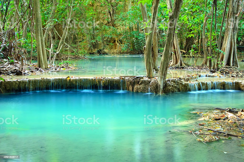 Huay Mae Khamin, Paradise Waterfall located in deep forest. stock photo