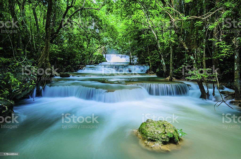 Huay Mae Khamin - Waterfall, Flowing Water, paradise in Thailand. royalty-free stock photo