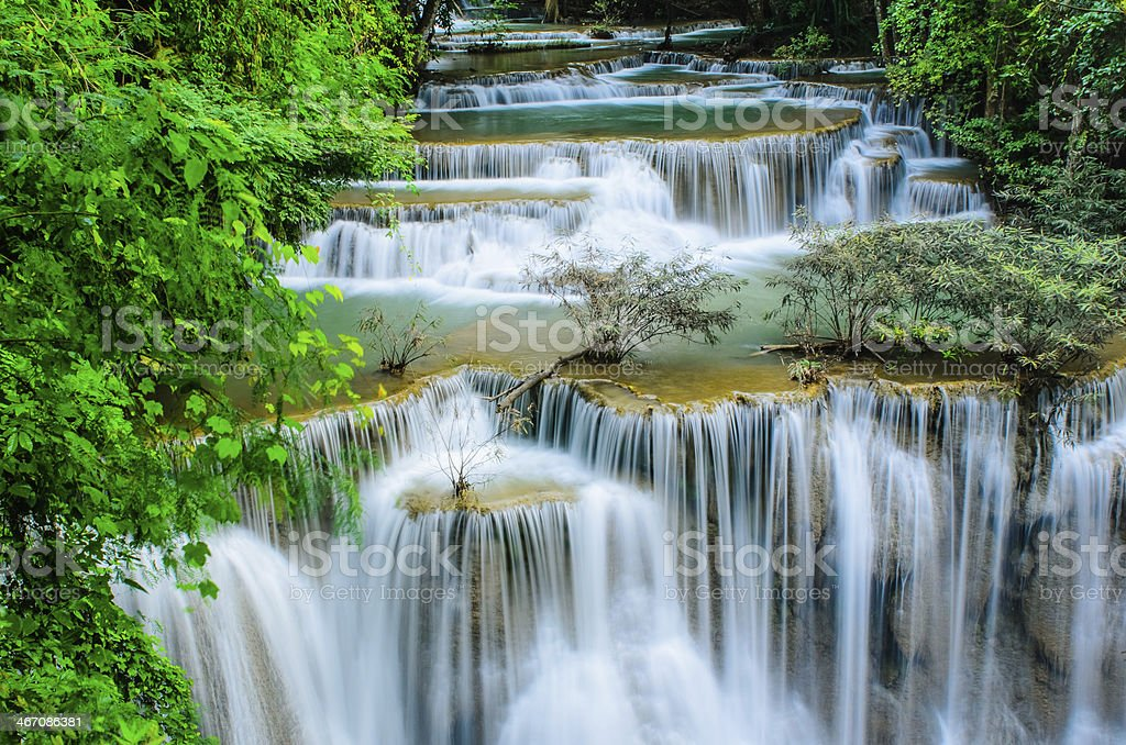 Huay Mae Khamin - Waterfall, Flowing Water, paradise in Thailand. stock photo