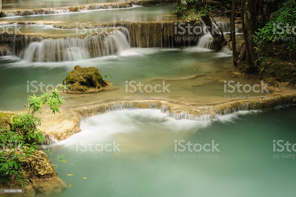 Huay Mae Khamin waterfall in National Park,Thailand. stock photo