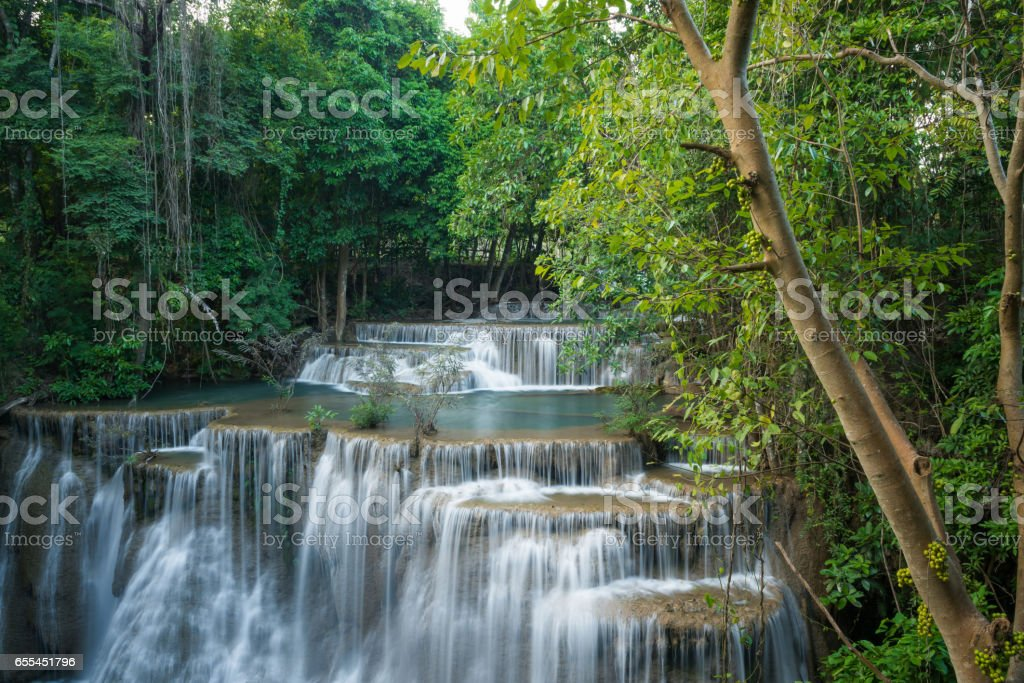 Huay Mea Kamin waterfall, Located Kanchanaburi Province, Thailand stock photo