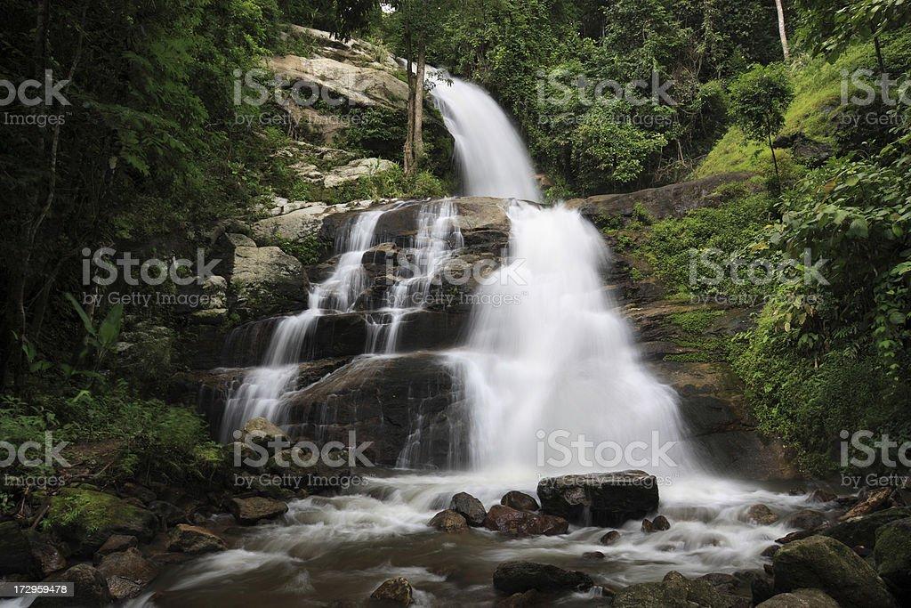 Huay sai leuang waterfall stock photo