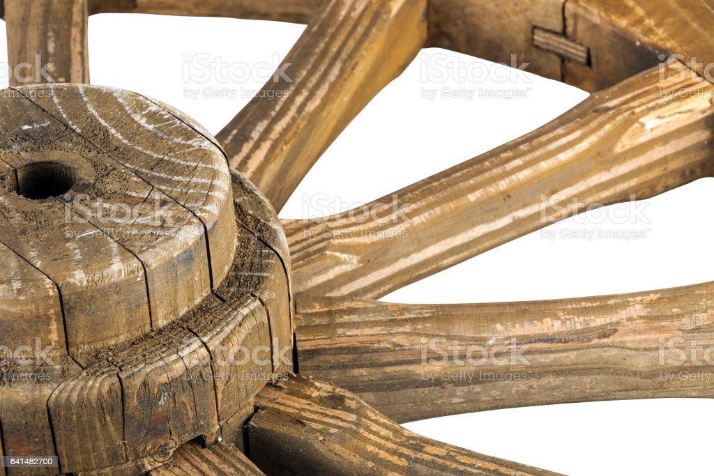 Hub and Spokes of Wooden Weathered Ornamental Wagon Wheel stock photo