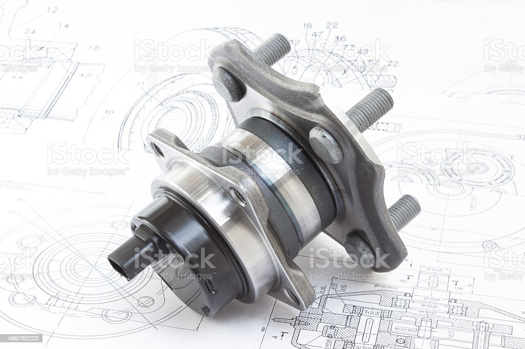 hub with bearing. on the background of drawings and plans stock photo