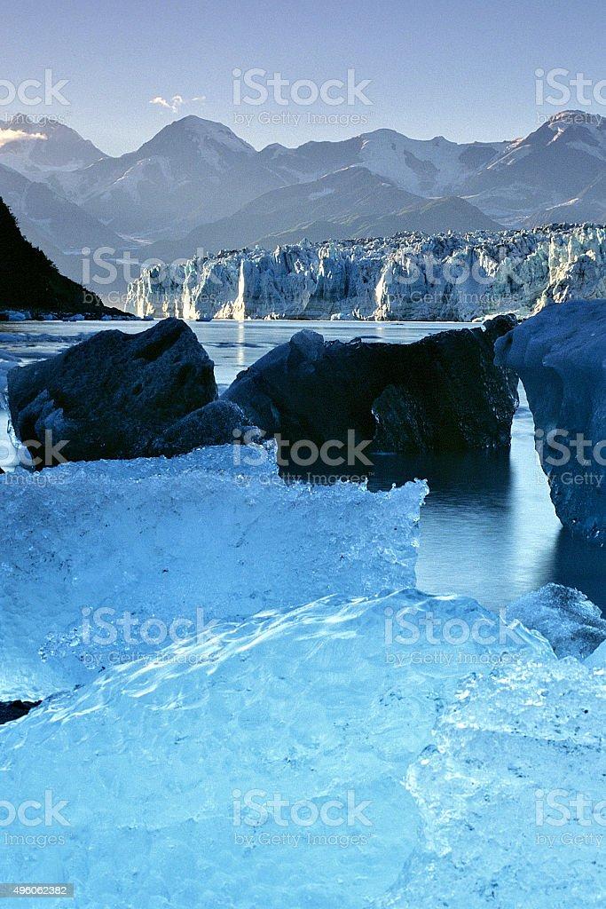 Hubbard Glacier, Alaska with icebergs in sunshine stock photo