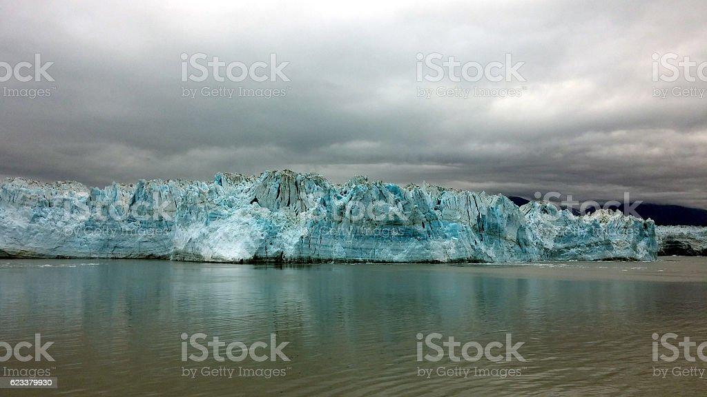Hubbard glacier on a cloudy day, Glacier Bay, Alaska stock photo