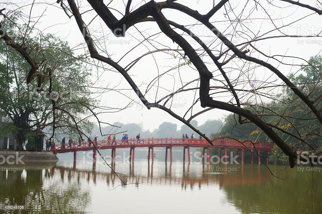 Huc Bridge in Ha Noi stock photo