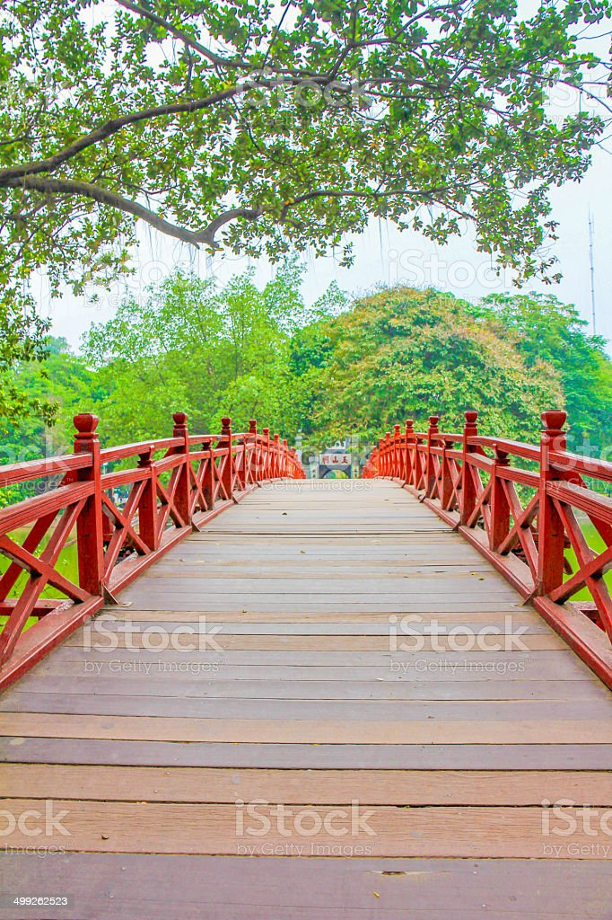 Huc Bridge in Ha Noi Vietnam stock photo
