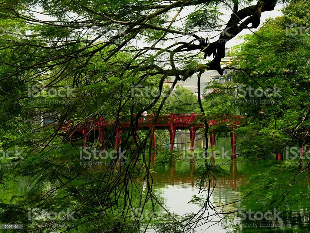 Huc Bridge in Hanoi on a grey day stock photo