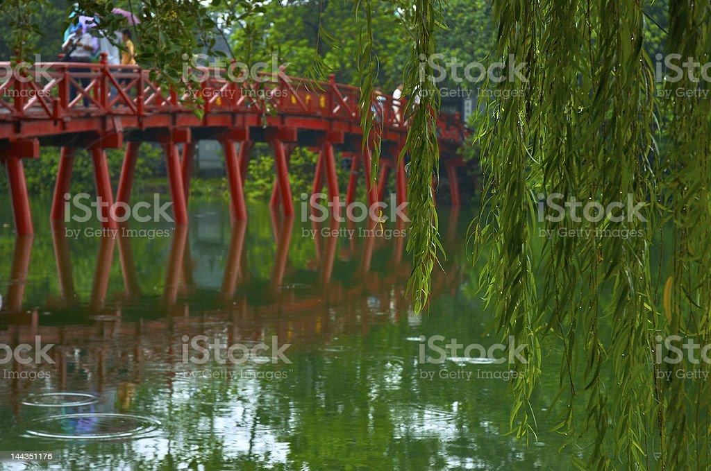 Huc Bridge in Hanoi, Vietnam stock photo