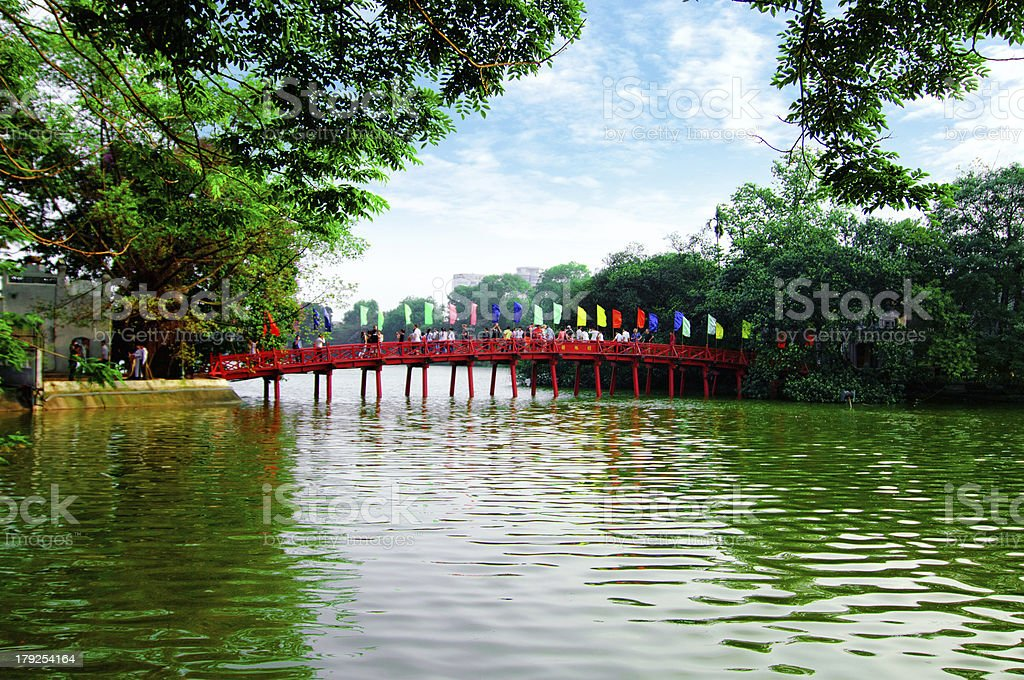 Huc Bridge in Hoan Kiem Lake, Hanoi, Vietnam stock photo