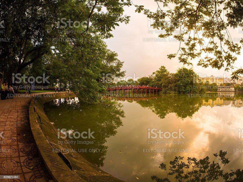 Huc Bridge in Hoan Kiem Lake in Hanoi, Vietnam stock photo