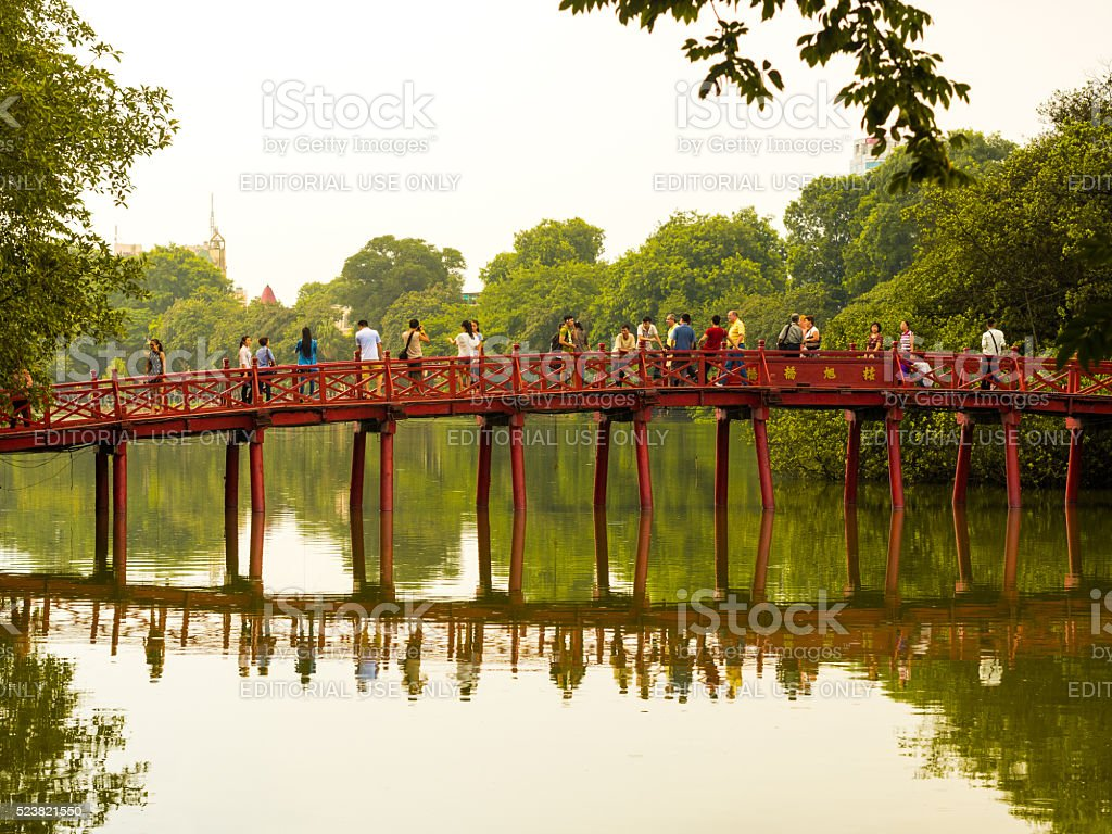 Huc Bridge in Hoan Kiem Lake in Hanoi, Vietnam stock photo