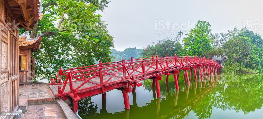 Huc Bridge spanning the Ngoc Son Temple, Hanoi, Vietnam stock photo