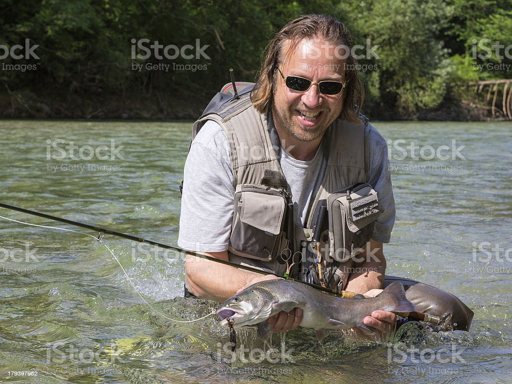 Huchen caugth by  a flyfisher ( huchohucho ) royalty-free stock photo