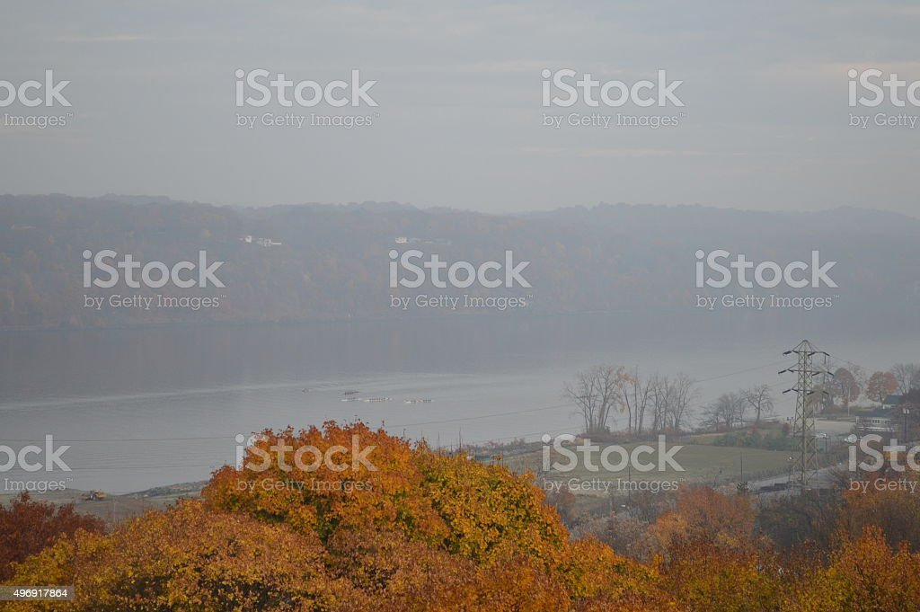 Hudson and town stock photo