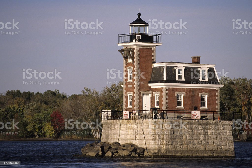 Hudson Athens Lighthouse stock photo