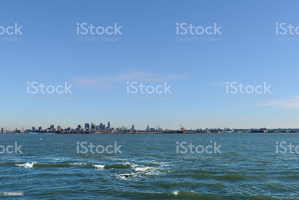 Hudson river and Manhattan stock photo