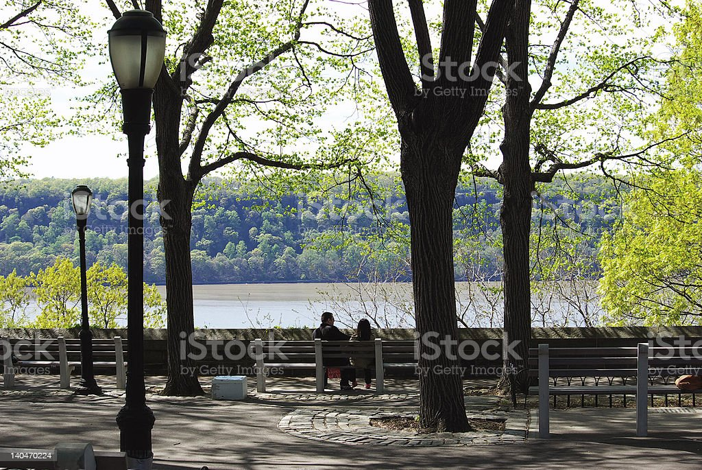 Hudson River from Fort Tryon in New York City stock photo