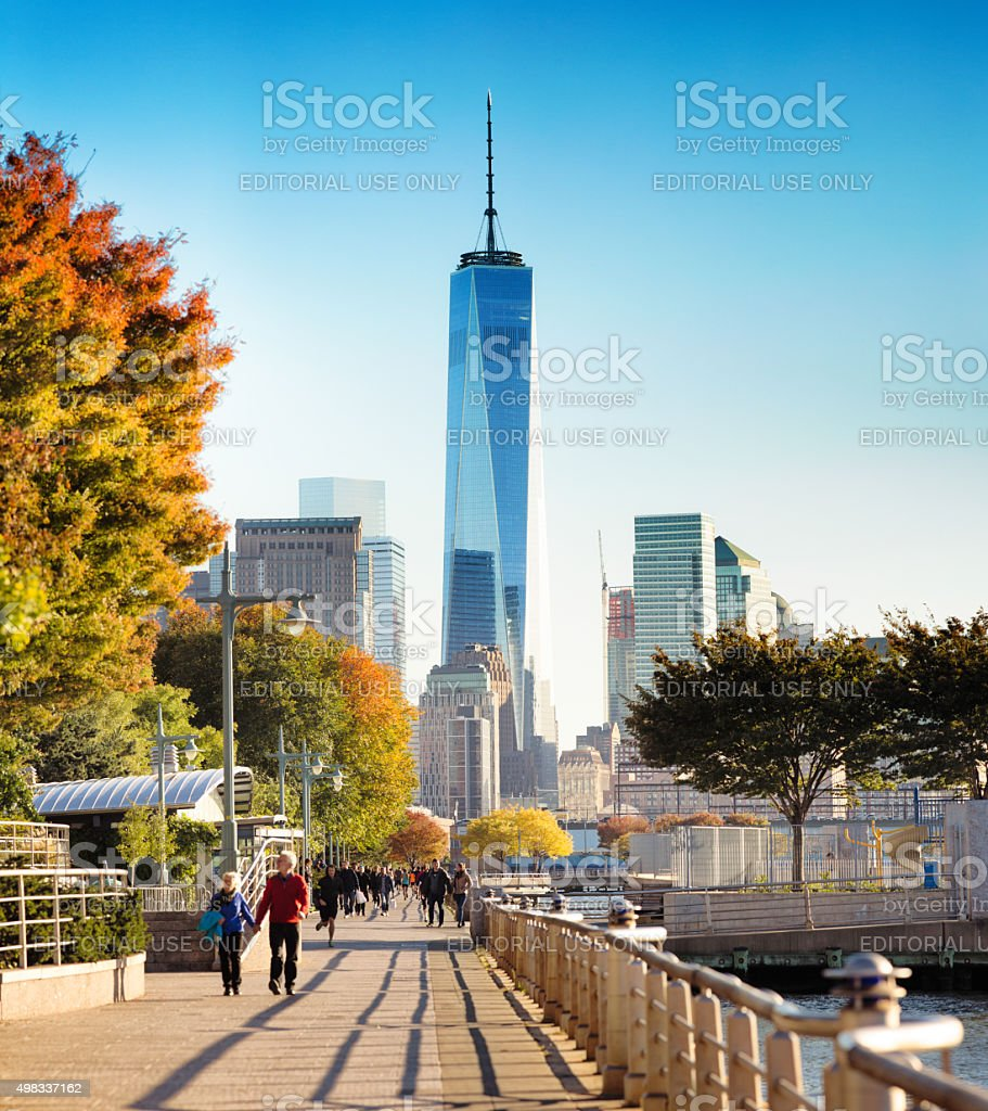 Hudson River Greenway towards Freedom tower stock photo