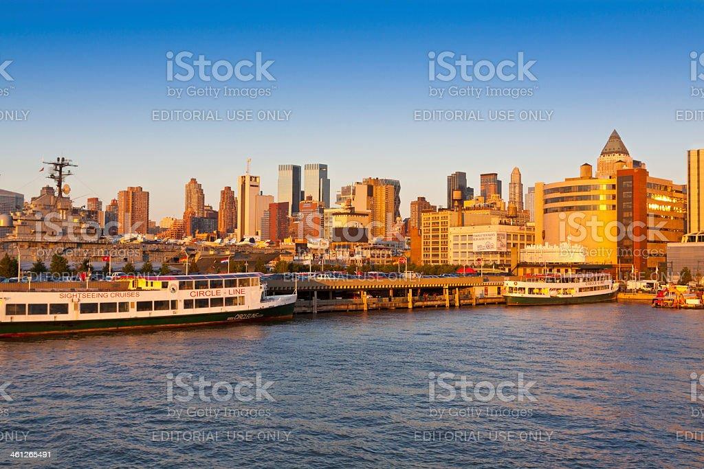Hudson River Shoreline and New York City Skyline. stock photo
