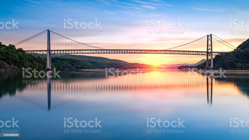 Hudson River Sunrise stock photo
